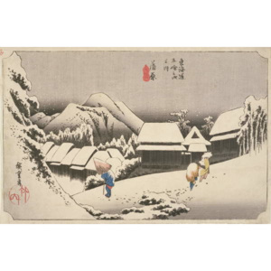 Evening Snow at Kambara, No.16 from 'The 53 Stations of the Tokaido', pub. by Hoeido, 1833, Festmény reprodukció, Ando or Utagawa Hiroshige
