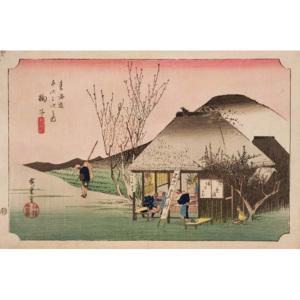 The Teahouse at Mariko, from the series '53 Stations on the Eastern Coast Road', 1833 Festmény reprodukció, Ando or Utagawa Hiroshige