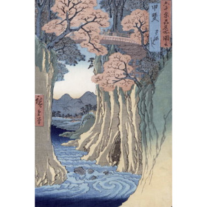 The monkey bridge in the Kai province, from the series 'Rokuju-yoshu Meisho zue' (Famous Places from the 60 and Other Provinces) Festmény reprodukció, Ando or Utagawa Hiroshige