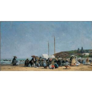The Beach at Trouville Festmény reprodukció, Boudin, (100 x 50 cm)