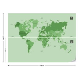 GLIX Fotótapéta - Political World Map Green Papírová tapeta - 254x184 cm