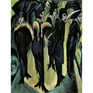 Kirchner, Ernst Ludwig - Five women on the street, by Ernst Ludwig Kirchner Festmény reprodukció