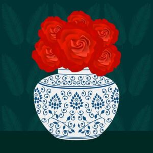 Huntley, Claire - Ming vase with Roses Festmény reprodukció