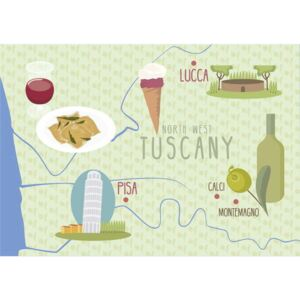 Huntley, Claire - Map of Lucca and Pisa, Tuscany, Italy Festmény reprodukció