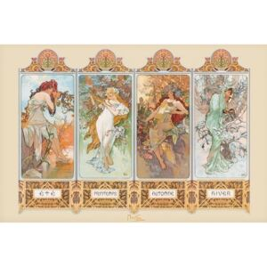 Plakát Alfons Mucha – four seasons, (91,5 x 61 cm)