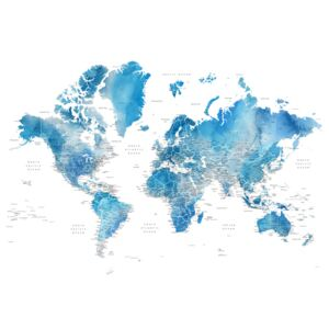 Blue watercolor world map with cities, Raleigh, (128 x 85 cm)