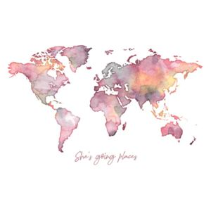 Worldmap she is going places, (128 x 96 cm)