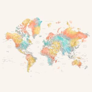 Detailed colorful watercolor world map, Fifi, (128 x 85 cm)