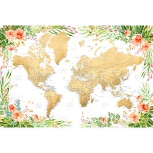 Floral bohemian world map with cities, Blythe, (128 x 85 cm)