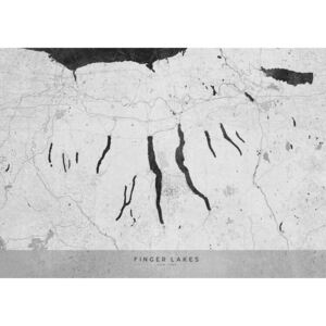 Gray vintage map of Finger Lakes, (128 x 96 cm)
