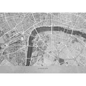 Gray vintage map of London downtown, (128 x 96 cm)