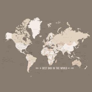 Ábra Earth tones world map with countries Best dad in the world, Blursbyai