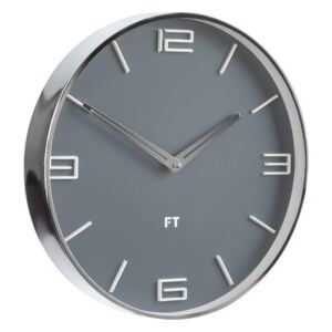 Future Time FT3010GY Flat Grey Dizájner falióra, átmérő: 30 cm