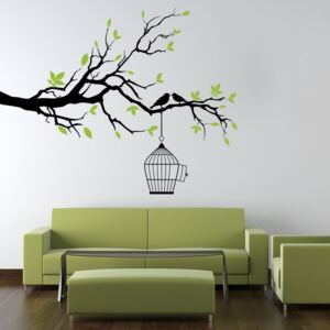 Falmatrica GLIX - Branch with cage and birds 100 x 60 cm Fekete