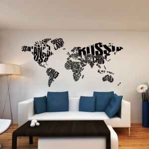 Falmatrica GLIX - World map 200 x 100 cm Fekete