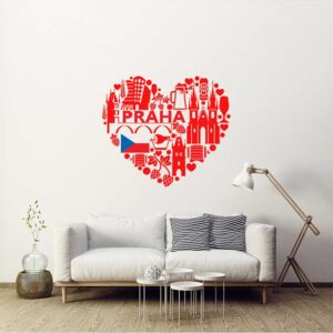 Falmatrica GLIX - Heart of Prague 100 x 90 cm Piros