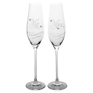 Pezsgőspohár - Mr & Mrs Swarovski (210 ml, 2 db)
