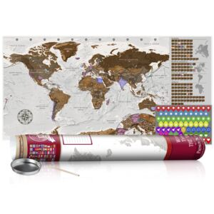 Scratch map Bimago - Grey Map Red Edition 100x50 cm