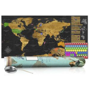Scratch map Bimago - Golden Map Blue Edition 100x50 cm