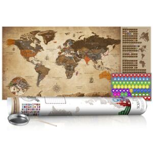Scratch map Bimago - Vintage Map White Edition 100x50 cm