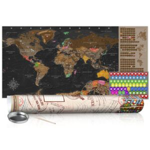 Scratch map Bimago - Brown Map 100x50 cm