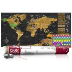 Scratch map Bimago - Golden Map Red Edition 100x50 cm