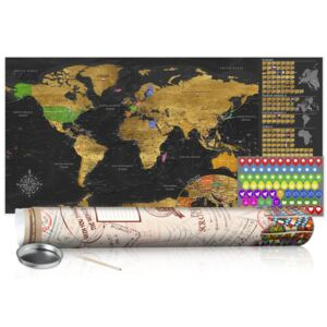 Scratch map Bimago - Golden Map 100x50 cm