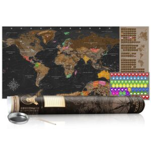 Scratch map Bimago - Brown Map Black Edition 100x50 cm