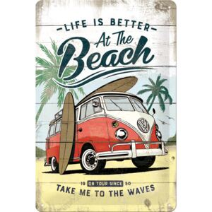 Buvu Fémtáblák: VW Life is Better at the Beach - 30x20 cm