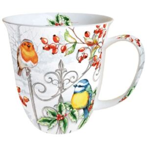 AMB.38410535 Birds & Holly porcelán bögre 0,4l