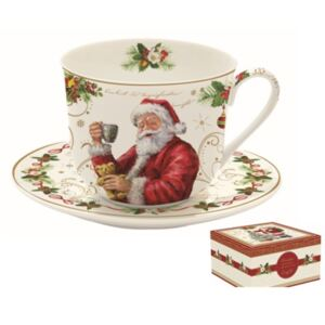 R2S.1454MAGI Porcelán reggeliző csésze+alj 400ml, dobozban, Magic Christmas