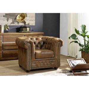 Massziv24 - CAMBRIDGE Fotel Chesterfield, barna