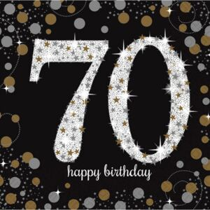 Happy Birthday 70 Gold szalvéta 16 db-os 33*33 cm