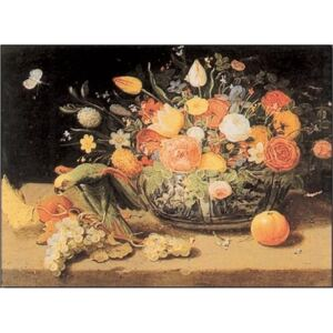 Still Life of Flowers and a Parrot Festmény reprodukció, V. Kessel, (100 x 70 cm)